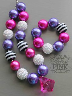 Pink and Purple Bubble little girls chunky necklace