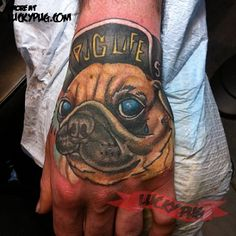THUG PUG -  Location: Hand -   On: Tom from Beards Against -  Domestic Violence, Sheffield, UK -   Tattooed by: John Freyvogel at Bodyworks Tattoo -     See more at www.luckypug.com