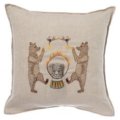 Circus Bear Pocket Pillow from KESTREL. Two trumpeting bears thump to the beat as a fearless tiger leaps through a hoop of flames. By Coral + Tusk