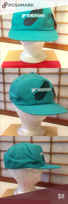 Yokohama Sports Cap Turquoise Green With bold black Tire Tracks & Yokohama white logo.  Crafted of 100% cotton with sturdy plastic strap for comfortable fit.  NEW never worn from smoke-free home next to PostOffice so shipping is almost instant. Burlington Accessories Hats