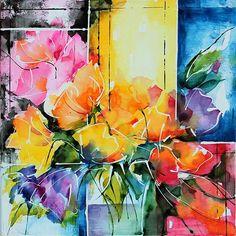 Devant la fenêtre (Aquarelles sur châssis entoilé / Watercolors on canvas)