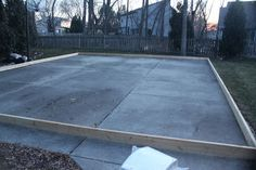 First (and probably the most important), you need a level surface. Form a frame with boards. Here, we have 8 of them in a rectangle t. Outdoor Rink, Outdoor Skating Rink, Roller Skating Rink, Roller Rink, Outdoor Parties, Ice Skating, Outdoor Decor, Outdoor Living, Backyard Ice Rink