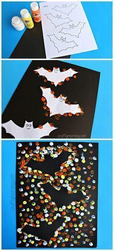 Fingerprint Bat Silhouette Craft #Halloween craft for kids to make! Free Printable   CraftyMorning.com