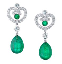 Fabergé Aurora emerald and white diamond drop earrings, set in platinum, from Les Danses Fantasques collection.