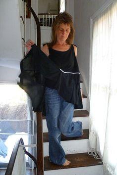 N16.50:) SHIFT. top.skirted. black.medium length. double layered linen bib. upcycled black skirt..HALL-HARRIS designed & handmade.