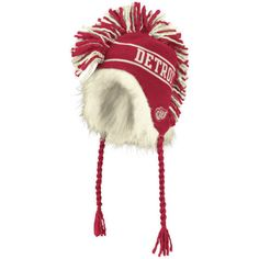 Detroit-Red-Wings-NHL-Vintage-Fur-Mohawk-Laplander-Toque-Knit-Beanie-Hat-Cap-NWT