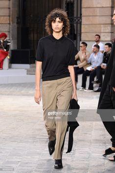 Mica Arganaraz walks the runway during the Berluti Menswear. Fall Skirts, Mini Skirts, Model Street Style, Patterned Tights, Cool Sweaters, Fashion Pants, Street Wear, Runway, Menswear