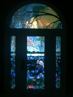 Stained Glass Water Lilies Door