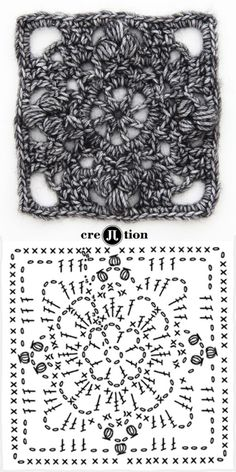 image and crochet diagram flower square poncho by creJJtion