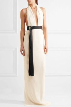 Solace London - Laryn Plissé-crepe Halterneck Gown - Cream - UK10