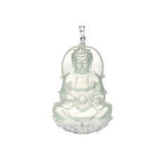 ICY JADEITE 'GUANYIN' AND DIAMOND PENDANT
