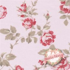 """Petal PWTW058-Pink By Tanya Whelan For Free Spirit Fabrics: Petal is a collection by Tanya Whelan for Free Spirit Fabrics.  43/44"""" wide.  100% cotton.  This fabric features trailing red roses on a pink background."""