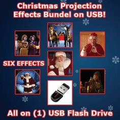 "CHRISTMAS USB PROJECTION BUNDLE    YOUR 8GB USB MINI FLASH DRIVE COMES WITH:    1) New Virtuial Santa in ""HD""  2) Virtual Mrs. Claus  3) Christmas Globes  4) Virtual Carolers  5) Christmas Elves  6) Santa & Sleigh    * All this pre-installed on a Scandisk 8GB USB Mini flash drive!    All you have to do is plug in your Virtual Santa Projector (Sold Seperatly), plug in your Christmas 8GB USB Mini flash drive in the USB port of your projector, select the proper directory and play the effect you…"