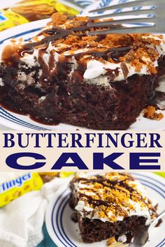 This rich, decadent, sweet Butterfinger Cake is moist, irresistible, and so easy to make. A chocolate boxed cake mix is baked and then poked with fork tines before a sweet, gooey caramel and sweetened condensed milk is poured on top. Top with a light, fluffy whipped topping mixed with Butterfinger candy bars for the best, simple, quick, and easy dessert that everyone will love!   The Gracious Wife @thegraciouswife #butterfingercake #holidaycakerecipe #butterfingerinspiredrecipes #thegraciouswife Chocolate Box Cake, Chocolate Cake Mix Recipes, Decadent Chocolate Cake, Poke Cake Recipes, Decadent Cakes, Cupcake Recipes, Fun Baking Recipes, Milk Recipes, Snack Recipes