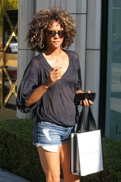 HALLE BERRY in Denim Shorts Shopping at Melrose Ave in West Hollywood 08/12/2017
