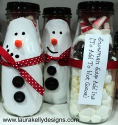 DIY Christmas Gifts | Upcycle empty frappucino bottles into adorable snowman gift bottles!