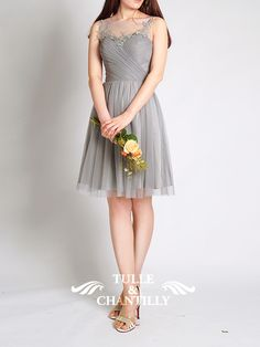 a7b3ebd3a63 Illusion Boat Neck Lace And Tulle Gray Bridesmaid Dresses Designer Bridesmaid  Dresses