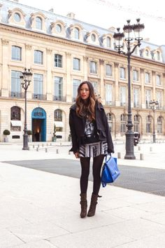 18 Stunning Looks with Laurence dacade shoes glamhere.com Urban Outfitters Biggie SweaShirt similar here here and here Three Floor Tweed Skirt dress version here Laurence Dacade Studded Boots
