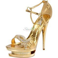 Celeste Dena-01 Gold Color Triple Platform Ankle Strap Shoes - Round Toe Classic Pumps Clubbing Wedding Prom Fashion Style Bridal Interview Work Graduation $43.99