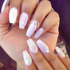 White hologram fairy dust coffinnails acrylic cute nails