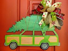 National Lampoons Christmas Vacation - Station Wagon with Christmas Tree Door Hanger Door Sign on Etsy by Barber Farms - Super Cute for the Christmas Holidays!