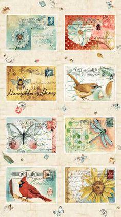 Pattern #23184-MUL1 Postcard Garden by Red Rooster Fabrics Artist Michelle Palmer