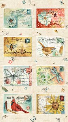 Pattern #23184-MUL1 Postcard Garden by Red Rooster Fabrics