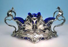 WMF Jugendstil Jardiniere Butterfly Schmetterling blauer Glaseinsatz