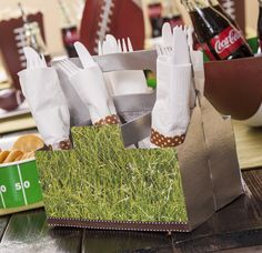 """""""#HomeBowlHeroContest"""" Host a Home Bowl: football cookies and utensil containers! - Mod Podge Rocks"""