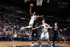 Draymond Green of the Golden State Warriors goes for a lay up during the game against the Minnesota Timberwolves on March 10 2017 at Target Center in...