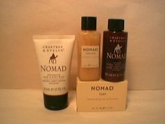 Crabtree & Evelyn Nomad travel set for men.  Soap, Hair & Body Wash,  Conditioner,  After-Shave Balm - 50 ml Travel Size x 4.   Silktraveler carries a nice selection from this retired line.