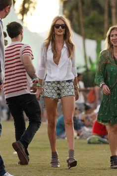 Rosie+Huntington-Whiteley wore a sexy button-down and denim cut offs. Classic #Coachella wardrobe