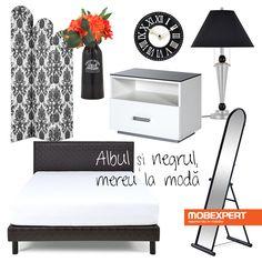 Alb-negru, combinația ce poți fi sigur că nu dă greș niciodată. #decoideea #moodboard #dormitor #alb #negru