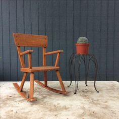 Handmade child's rustic rocking chair // available at La Petite Revival