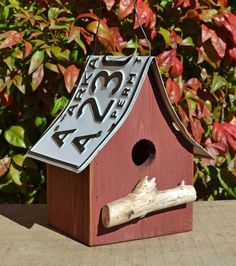 birdhouse  recycled license plate  barn red  by ruraloriginals, $20.00