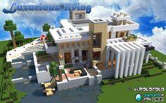 [Modern] Luxurious living mansion (at 'WOK' and 'Minecraft Monday yo… - Mine Minecraft World Minecraft Modern Mansion, Minecraft House Plans, Minecraft House Tutorials, Cute Minecraft Houses, Minecraft Houses Blueprints, Minecraft Room, Minecraft City, Minecraft House Designs, Minecraft Construction