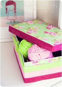 Yarn wrapped shoe box    http://craftandcreativity.com/blog/2012/02/10/shoebox/