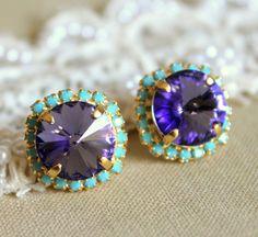 Crystal stud big Purple violet earring - 14k plated gold post earrings real swarovski rhinestones .. $38.00, via Etsy.