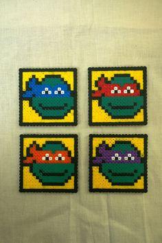 TMNT coasters set hama perler beads by KimsHandmadeCave