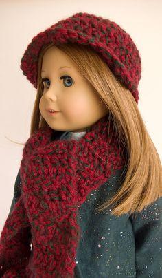 Crochet Hat Scarf Set American Girl 18 Inch Doll by PattiKuz, $9.00