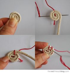まずはロープをしっかり巻いて小さな円を作ります。端の部分は中央に押し込めるようにして下さい。(写真左上) 針を円の端から端へと通します。必ず中央部分を通過させて下さい。縦方向に通したら、そのまま直角に横方向にも通します。(写真右上) 中央が固定されたらステッチを始めていきます。最初は外側のロープ2本をくくります。(写真左下) 次は一番外側のロープだけをくくって縫います。この時は、必ず手前のロープにも針を通して一緒に縫うようにしてください。外側2本、外側1本を交互に繰り返していきます。(写真右下。)