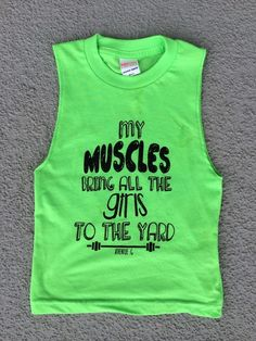 Neon green muscle tankBlack writing