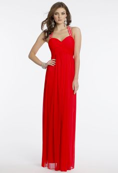 Camille La Vie Mesh Racer Back Prom Long Dress. Perfect for any party event