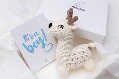 Baby boy pregnancy congratulations announcement gift box with   Etsy Crochet Deer, Hand Crochet, Baby Shower Gifts For Boys, Baby Boy Shower, Boy Pregnancy, Pregnancy Congratulations, Pregnant With Boy, Announcement, Woodland