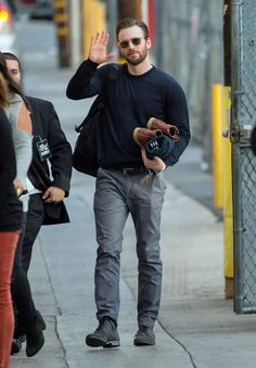 """Chris Evans arrives at """"Jimmy Kimmel Live"""" in Hollywood on Tuesday."""