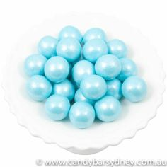 Powder Blue Shimmer Gumballs. A must have for baby shower dessert tables!