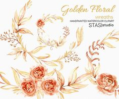Watercolor Floral Wreaths Clip Art Gold Leaves Autumn Clipart
