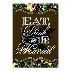 Hunting Themed Wedding Invitations | Eat Drink Married Hunting Camo Wedding Invitations from Zazzle.com
