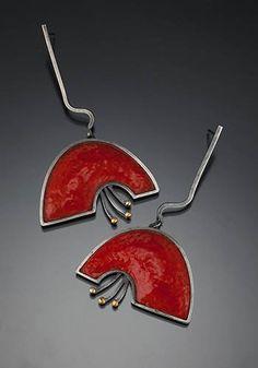 "Marcia Meyers: Bellflower II Earrings, Red orange peel cloisonne on fine sterling silver, 14k and 18k gold, with sterling backs. Approx 2"" long."