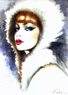 """Chill"" 2012 by Janesko  #art #illustration #pinup #face #watercolor #fashionillustration"